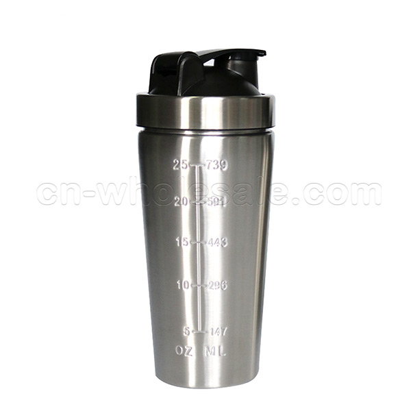 Bpa free custom logo sport stainless steel protein blender shaker bottle