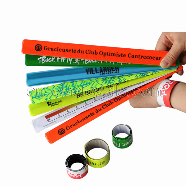 Custom unisex reflective slap cheap bulk custom pvc snap bracelet