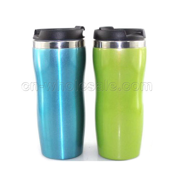 350ml Promotional Double Wall Stainless Steel Coffee Tumbler Mug with Leakproof Lids