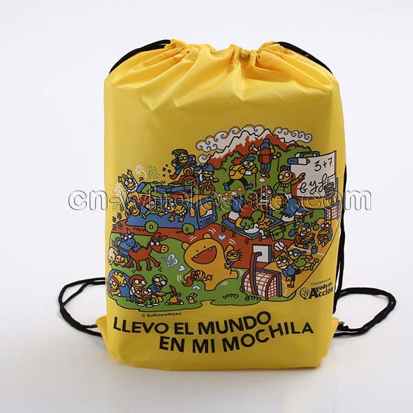 Custom heat transfer full printed polyester drawstring sport bag