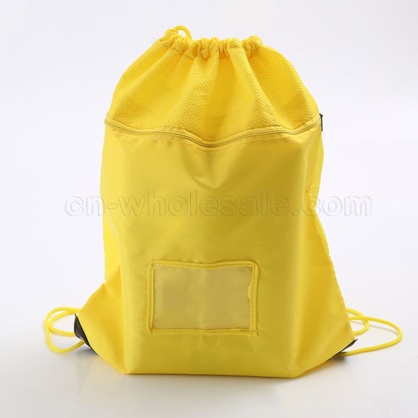 Custom printed polyester mesh sport drawstring gym bag
