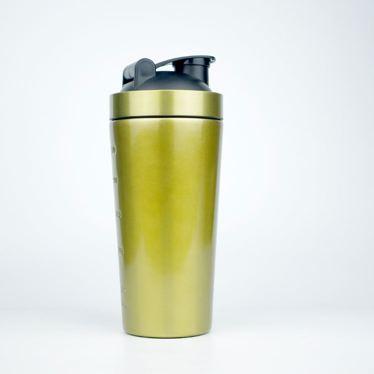 Custom Gold single wall and Double wall steel shaker bottle, Protein Powder shaker for GYM