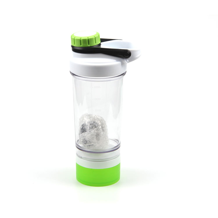 Wholesale 500ML protein shaker bottle with compartment