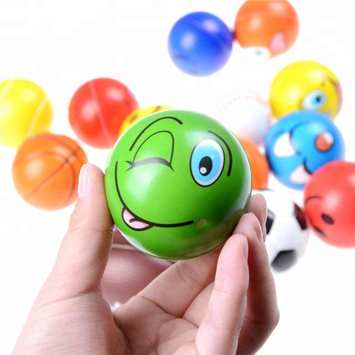 Wholesale 63MM PU foam smiley face stress balls custom