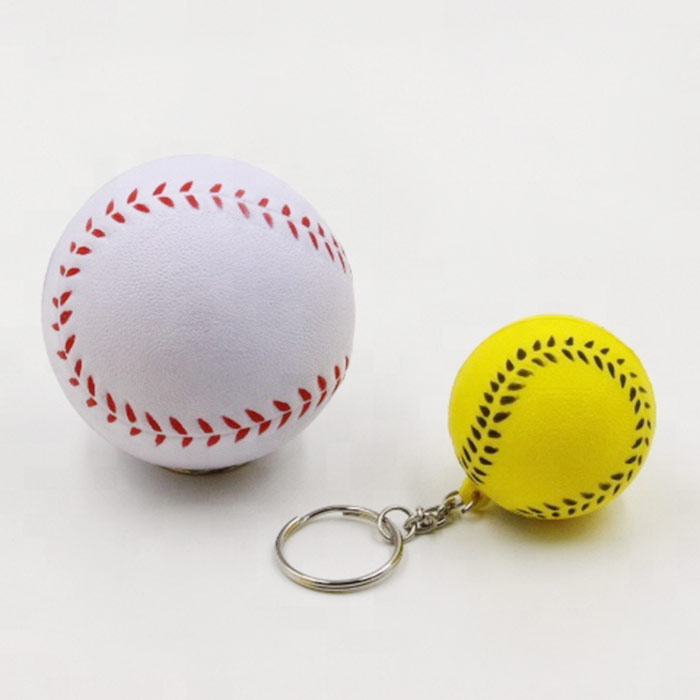 Promotional PU Baseball Shape PU Stress Ball best stress toys keychain